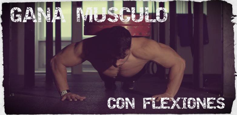 Flexiones o lagartijas como ejercicio constructor de músculo en pecho, hombro y tríceps