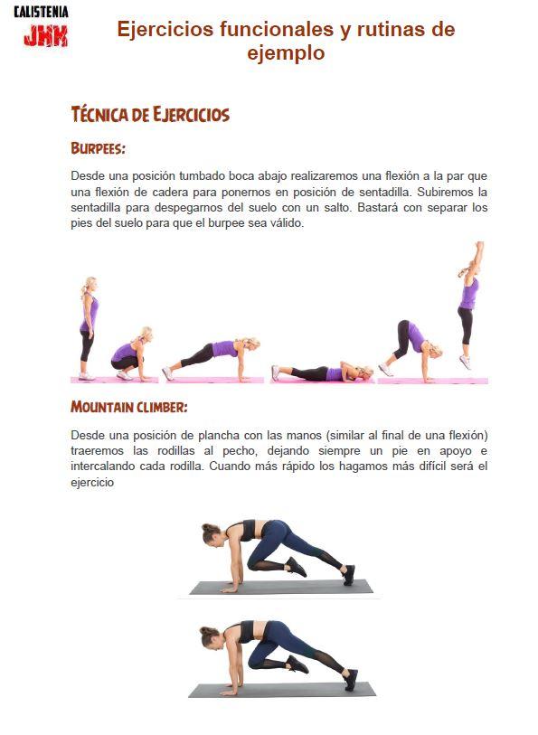 Ejercicios funcionales en PDF y rutinas de ejercicios funcionales